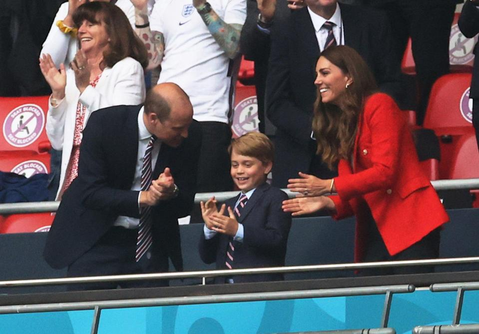 The Duke and Duchess of Cambridge with son George at Tuesday's game at Wembley. (Pool via REUTERS)