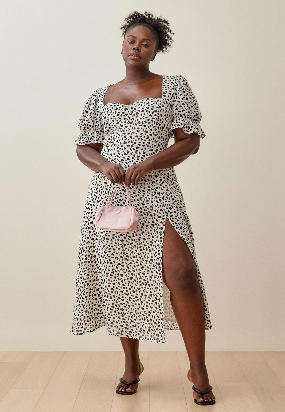 """Reformation is essentially a one-stop-shop for wedding guest cocktail dresses, including this puff-sleeved animal print dress. $248, Reformation. <a href=""""https://www.thereformation.com/products/alta-dress-es?color=Ocelot&via=Z2lkOi8vcmVmb3JtYXRpb24td2VibGluYy9Xb3JrYXJlYTo6Q2F0YWxvZzo6Q2F0ZWdvcnkvNWE2YWRmZDJmOTJlYTExNmNmMDRlOWM2"""" rel=""""nofollow noopener"""" target=""""_blank"""" data-ylk=""""slk:Get it now!"""" class=""""link rapid-noclick-resp"""">Get it now!</a>"""