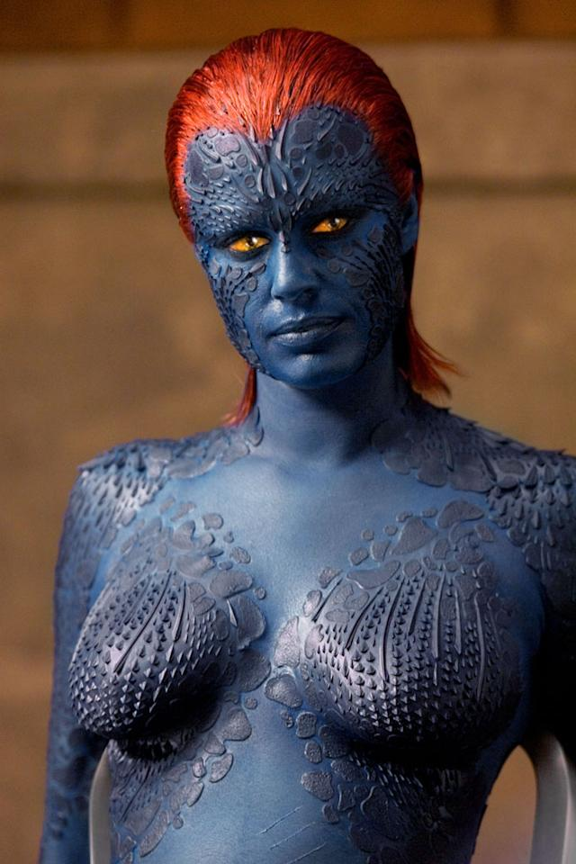 """Character: Mystique (<a href=""""http://movies.yahoo.com/movie/contributor/1800018689"""">Rebecca Romijn</a>)   Movie: <a href=""""http://movies.yahoo.com/movie/1800353817/info"""">X-Men</a>   Reason Why She Is Blue: Mutant genetics. Of course, since she's a shape shifter, perhaps the better answer would simply be she feels like it."""
