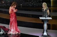 Actress Corinne Masiero (L) later stripped naked on stage in support of artists hit by coronavirus restrictions