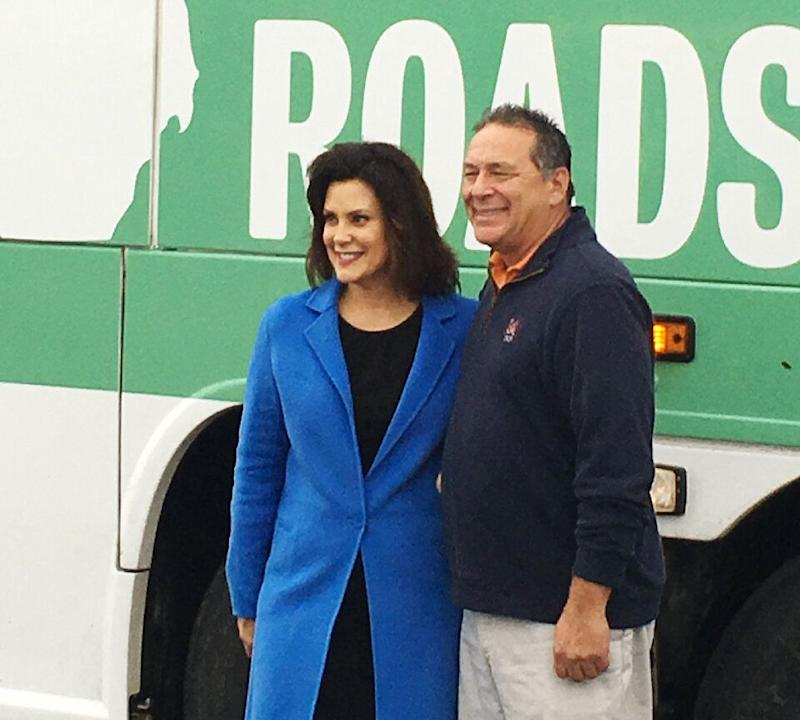 """Fix the damn roads"" was more than a specific campaign promise for Gov. Gretchen Whitmer (D-Mich.). It was a message about the kind of leader she would be: somebody who would get stuff done. (Photo: HUFFPOST/Jonathan Cohn)"
