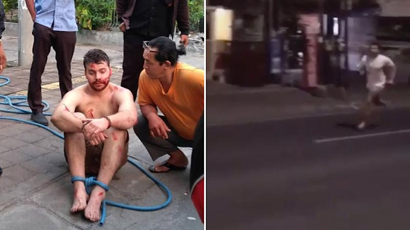 Photo shows Nicholas Carr tied up after he was caught on film kicking motorcyclist and jumping over car. Photo also shows Carr running down the Bali street.