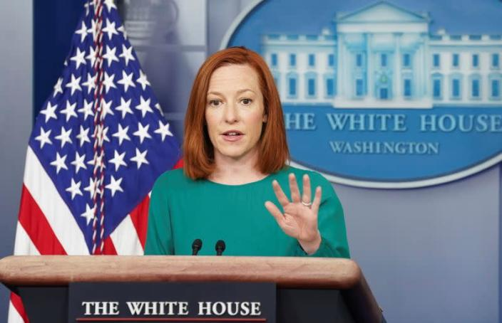 Jen Psaki speaks at the White House in Washington