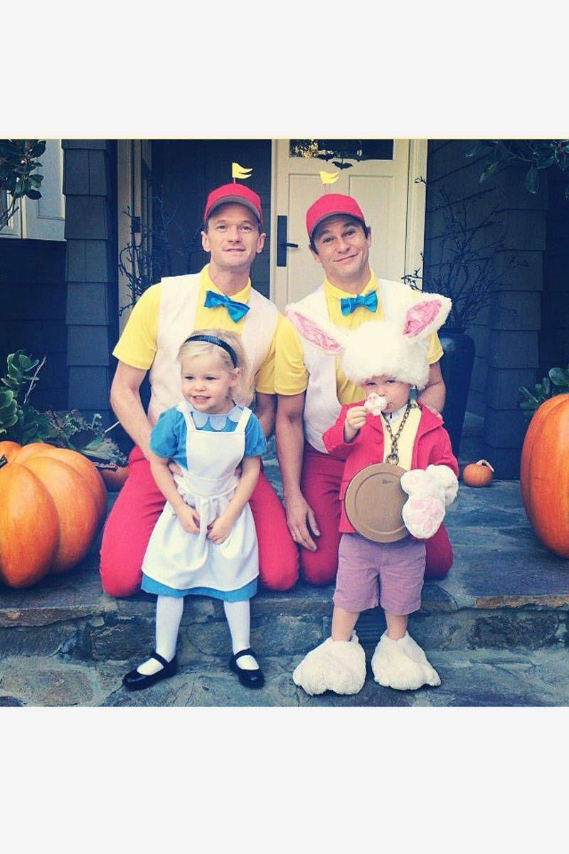 <p>As Tweedledee and Tweedledum with daughter Harper as Alice and son Gideon as the March Hare.</p>