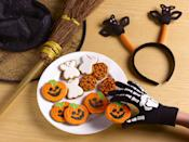"""<p><a href=""""https://www.oprahmag.com/life/g28159255/fall-party-ideas/"""" rel=""""nofollow noopener"""" target=""""_blank"""" data-ylk=""""slk:Halloween parties"""" class=""""link rapid-noclick-resp"""">Halloween parties</a> are about celebrating ghouls, ghosts, and things that go bump in the night. But it's not a monster bash without <a href=""""https://www.oprahmag.com/life/food/g28183294/best-fall-desserts/"""" rel=""""nofollow noopener"""" target=""""_blank"""" data-ylk=""""slk:tasty fall treats"""" class=""""link rapid-noclick-resp"""">tasty fall treats</a>, <a href=""""https://www.oprahmag.com/life/food/g28099287/fall-cocktails/"""" rel=""""nofollow noopener"""" target=""""_blank"""" data-ylk=""""slk:candy corn cocktails"""" class=""""link rapid-noclick-resp"""">candy corn cocktails</a>, or <a href=""""https://www.oprahmag.com/life/g27868790/best-friend-halloween-costumes/"""" rel=""""nofollow noopener"""" target=""""_blank"""" data-ylk=""""slk:clever costumes"""" class=""""link rapid-noclick-resp"""">clever costumes</a>. </p><p>Whether you're hosting a <a href=""""https://www.oprahmag.com/life/g27868801/funny-halloween-costumes-for-couples/"""" rel=""""nofollow noopener"""" target=""""_blank"""" data-ylk=""""slk:stylish dinner for couples"""" class=""""link rapid-noclick-resp"""">stylish dinner for couples</a>, or a casual gathering of your adult friends and their little monsters, these creative Halloween party food ideas have you covered. There's something to suit everyone, from rambunctious toddlers, to picky tweens, and every crowd member in between.</p><p>In order to make sure you cover all of your bases, start with some savory appetizers, like pumpkin chili or mummy-wrapped Brie cheese, then move on to the main event—something like meatball sliders which can be made on a budget. Of course, you won't want to forget to include something sweet. This is where you can really let your creativity shine, with treats like Frankenstein milkshakes or super cute monster whoopie pies.</p><p>To help you plan your whole Pinterest-perfect menu without the stress, we've gathered some of the best (and creepiest) rec"""
