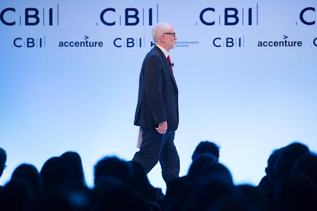 Labour leader Jeremy Corbyn speaking at the CBI annual conference. Photo: Stefan Rousseau/PA Wire