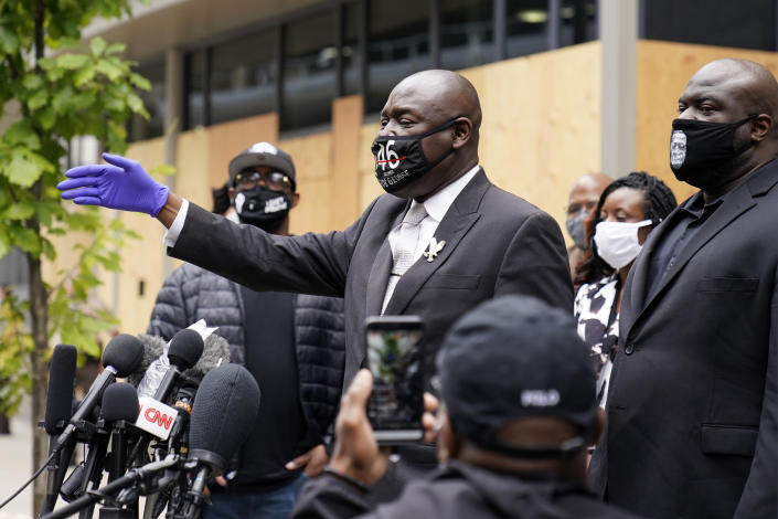 Attorney Ben Crump after a hearing at the Hennepin County Family Justice Center in Minneapolis on Friday. (Jim Mone/AP)