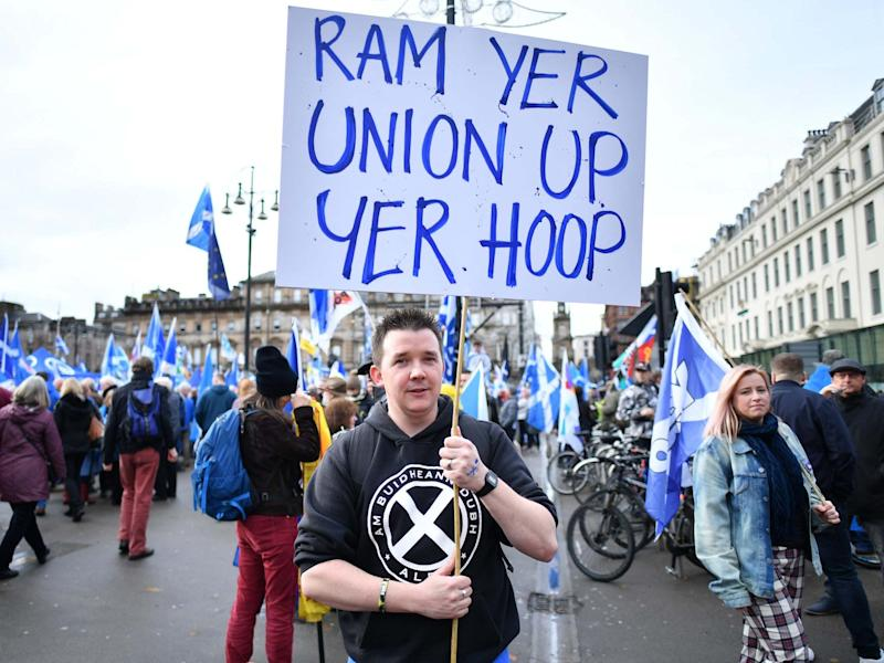 Scottish independence supporters at an indyRef2 rally in George Square, Glasgow, November: Getty