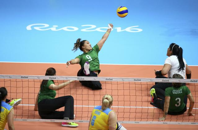 2016 Rio Paralympics - Sitting Volleyball - Women's Bronze Match - Riocentro Pavilion 6 - Rio de Janeiro, Brazil, 17/09/2016. Jani Freitas Batista (BRA) of Brazil in action. REUTERS/Pilar Olivares FOR EDITORIAL USE ONLY. NOT FOR SALE FOR MARKETING OR ADVERTISING CAMPAIGNS.