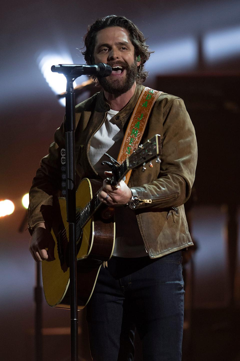 """Thomas Rhett performs """"What's Your Country Song"""" during the 56th Academy of Country Music Awards at the Grand Ole Opry Saturday, April 17, 2021 in Nashville, Tenn."""
