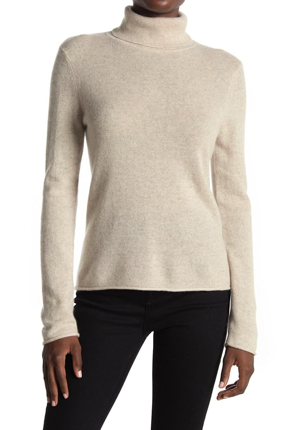 <p>Winter dressing looks a lot chicer with this classic <span>14th &amp; Union Turtleneck Cashmere Sweater</span> ($37, originally $60).</p>