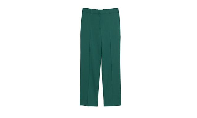 "<p>Creased Slacks, $125, <a href=""https://www.stories.com/en_usd/clothing/trousers/product.creased-slacks-green.0572340004.html"" rel=""nofollow noopener"" target=""_blank"" data-ylk=""slk:stories.com"" class=""link rapid-noclick-resp"">stories.com</a> </p>"