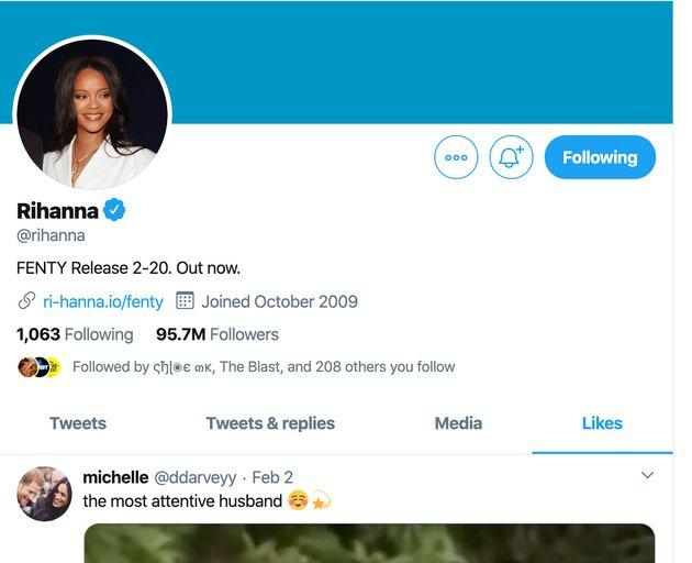 A screenshot showing that Rihanna liked the recent viral video of Harry and Meghan.