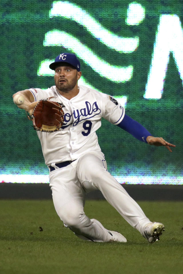 Kansas City Royals right fielder Ryan McBroom catches a fly ball for the out on Houston Astros' Alex Bregman during the seventh inning of a baseball game Saturday, Sept. 14, 2019, in Kansas City, Mo. (AP Photo/Charlie Riedel)