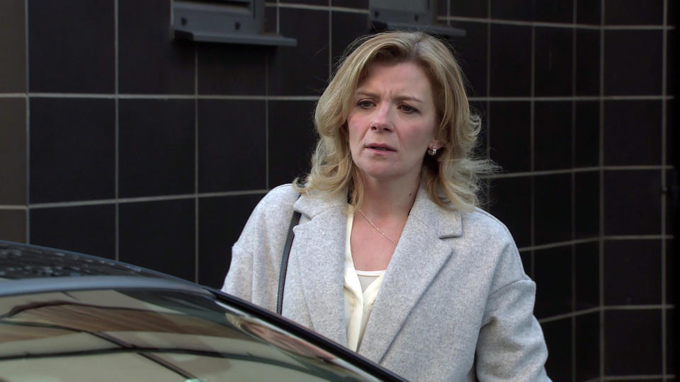 FROM ITV  STRICT EMBARGO - No Use Before Tuesday 9th March 2021  Coronation Street - Ep 10273  Monday 15th March 2021 - 1st Ep  Leanne Tilsley [JANE DANSON] masks her panic. Approaching Harvey's [WILL MELLOR] car with trepidation she hands him the £1k, telling him she's Simon's Mum and that's all he's getting. Harvey makes it clear he wants the rest or he'll put them in hospital.   Picture contact David.crook@itv.com   Photographer - Danielle Baguley  This photograph is (C) ITV Plc and can only be reproduced for editorial purposes directly in connection with the programme or event mentioned above, or ITV plc. Once made available by ITV plc Picture Desk, this photograph can be reproduced once only up until the transmission [TX] date and no reproduction fee will be charged. Any subsequent usage may incur a fee. This photograph must not be manipulated [excluding basic cropping] in a manner which alters the visual appearance of the person photographed deemed detrimental or inappropriate by ITV plc Picture Desk. This photograph must not be syndicated to any other company, publication or website, or permanently archived, without the express written permission of ITV Picture Desk. Full Terms and conditions are available on  www.itv.com/presscentre/itvpictures/terms