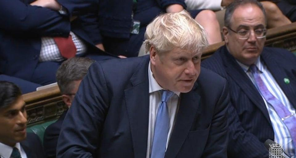Boris Johnson speaks during Prime Minister's Questions (House of Commons/PA) (PA Wire)