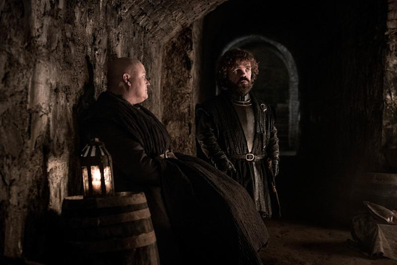 Conleth Hill as Varys and Peter Dinklage as Tyrion Lannister. | Helen Sloan/HBO