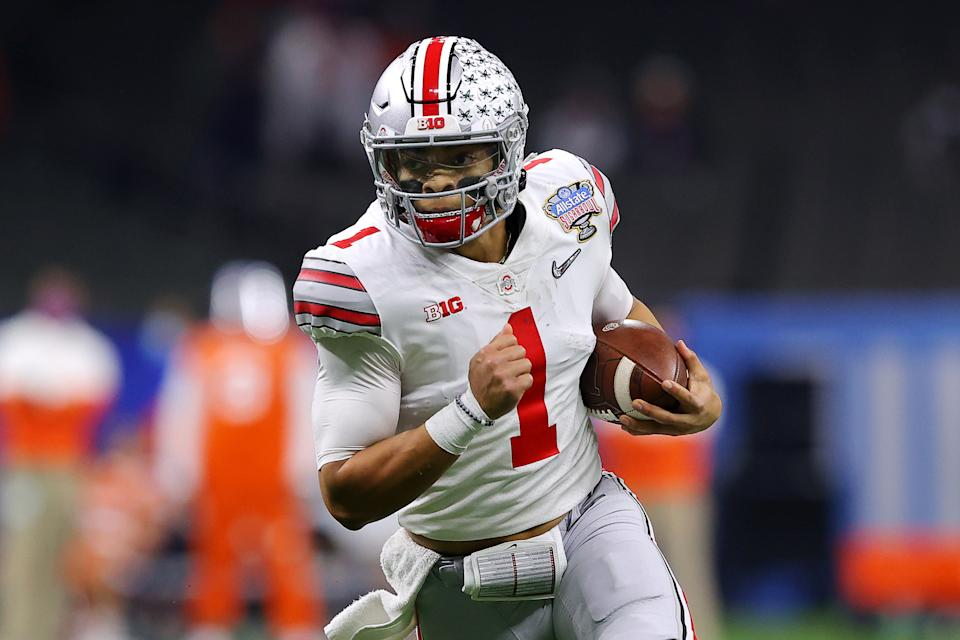 Ohio State QB Justin Fields was masterful against Clemson in the Sugar Bowl, answering a lot of questions that had cropped up. (Photo by Kevin C. Cox/Getty Images)