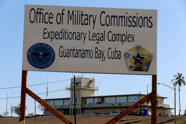 PHOTO: In this June 25, 2013, file photo, a sign reading, 'Office of Military Commissions Expeditionary Legal Complex Guantanamo Bay, Cuba' is shown at the military prison in Guantanamo Bay, Cuba. (Joe Raedle/Getty Images, FILE)