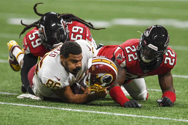"""The Redskins are concerned that <a class=""""link rapid-noclick-resp"""" href=""""/nfl/players/26708/"""" data-ylk=""""slk:Jordan Reed"""">Jordan Reed</a> may have suffered another concussion. (Getty)"""