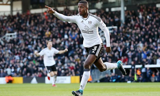 Ryan Sessegnon of Fulham celebrates after scoring the opening goal against Aston Villa.