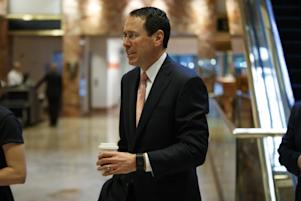 Copyright 2017 The Associated Press. All rights reserved. This material may not be published, broadcast, rewritten or redistributed without permission. Mandatory Credit: Photo by Evan Vucci/AP/REX/Shutterstock (7820431b) AT&T CEO Randall Stephenson arrives in the lobby of Trump Tower in New York, for a meeting with President-elect Donald Trump Trump, New York, USA - 12 Jan 2017
