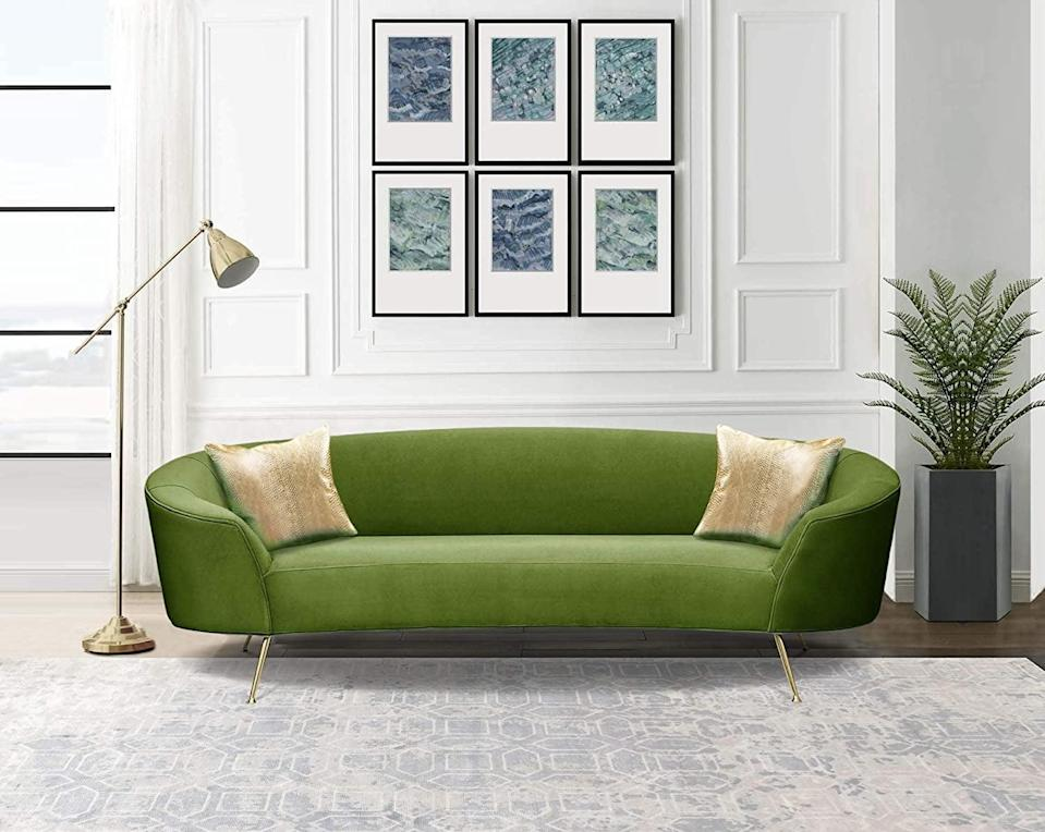 <p>This <span>Pasargad Velvet Sofa</span> ($1,660) is an absolute stunner. From the round edges to the velvet fabric, it looks expensive and glamorous. We also love the golden legs, which only add to the luxurious appearance and feel.</p>