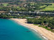 """<p>Nestled in the scenic bluffs above one of the Big Island's most beautiful beaches, the <a href=""""https://www.marriott.com/hotels/travel/koawi-the-westin-hapuna-beach-resort/"""" rel=""""nofollow noopener"""" target=""""_blank"""" data-ylk=""""slk:Westin Hapuna Beach Resort"""" class=""""link rapid-noclick-resp"""">Westin Hapuna Beach Resort</a> proves that you can have it all—a family vacation kids will love, and a grown-up getaway. Don't worry about dropping little ones off at the kid's club before heading to the hotel's five restaurants, or the Arnold Palmer-designed golf course—all kids under 12 eat free across the resort, and kids aged six to 17 get to golf free, too. Your kids might beg to spend a day at the hotel's Prince Keiki Club, though. Kid-focused activities like sandcastle building, hula dancing, T-shirt painting, and scavenger hunts are on offer. (Licensed babysitters are also available.) Or, keep things simple, and head straight for Hapuna Beach, which has calm, sheltered waters that are perfect for snorkeling, and free snorkel gear, boogie boards, and beach toys available to all guests.</p> <p><strong>Book now:</strong> From $629 per night, <a href=""""https://cna.st/affiliate-link/Bmaj1V9t4nDfMf7AwtuLqibuvBt74LsG7BbZXDXtZpYdNkhawWW1Yu1MnXGKHQB7GaxzXdGvop1DNzSGhaCLpzp22bFgVjtZ68ShmZvWYpcwWRA84Pxgi9nH9MePvRpUkRHpg4oERDLrbAHgfYimGZefUYZE7Wnai7R1DudP?cid=55099087481a91bb7819ff73"""" rel=""""nofollow noopener"""" target=""""_blank"""" data-ylk=""""slk:expedia.com"""" class=""""link rapid-noclick-resp"""">expedia.com</a></p>"""