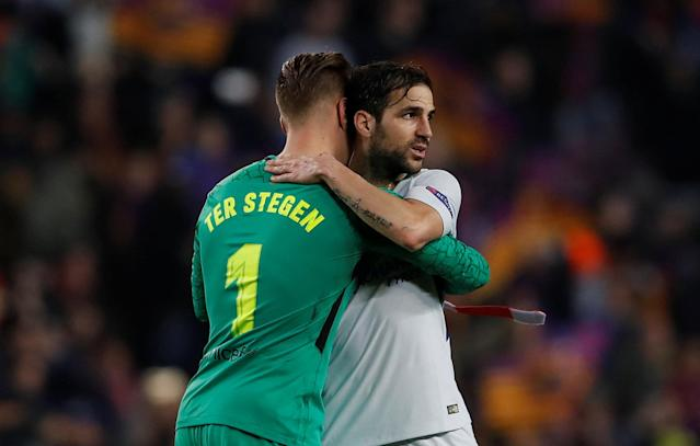 Soccer Football - Champions League Round of 16 Second Leg - FC Barcelona vs Chelsea - Camp Nou, Barcelona, Spain - March 14, 2018 Barcelona's Marc-Andre ter Stegen and Chelsea's Cesc Fabregas hug after the match Action Images via Reuters/Lee Smith