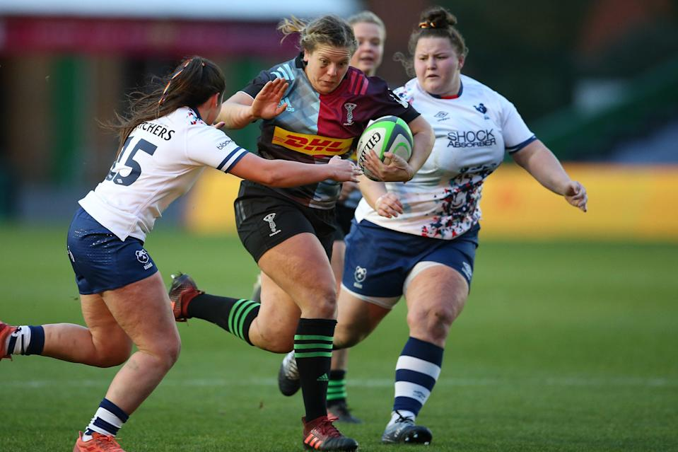 Vickii Cornborough on the charge against Bristol Bears (Getty Images for Harlequins)