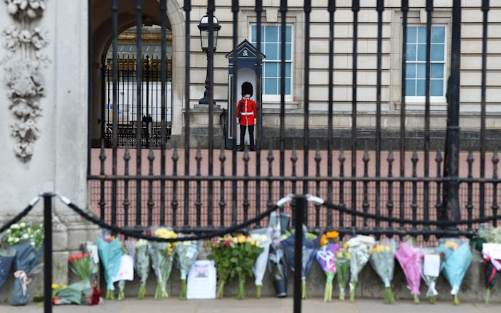 Floral tributes to Prince Philip are laid outside Buckingham Palace on April 10 - Stuart C. Wilson/Getty Images Europe