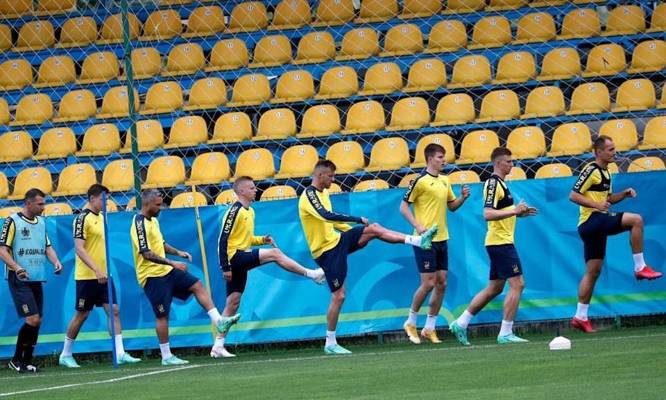 Ukraine players prepare for their first game of the tournament against the Netherlands at their training base in Voluntari, near Bucharest, Romania