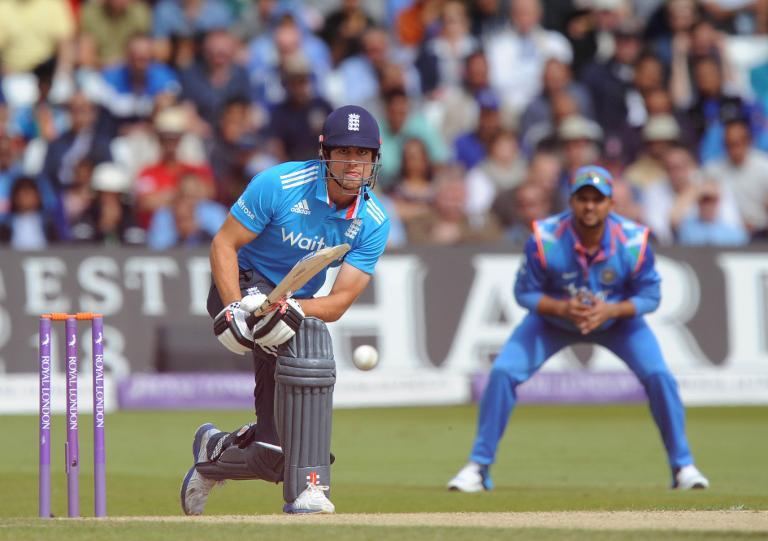 England's Alastair Cook (L) hits a shot during the third one-day international against India at Trent Bridge in Nottingham on August 30, 2014