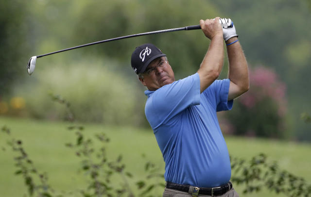 Kenny Perry watches his tee shot on the ninth hole during the third round of the PGA Championship golf tournament at Valhalla Golf Club on Saturday, Aug. 9, 2014, in Louisville, Ky. (AP Photo/David J. Phillip)