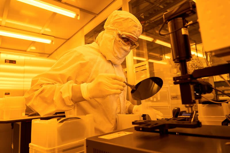 An employee works at the Rigetti Fab-1 integrated quantum device manufacturing facility in Fremont, California