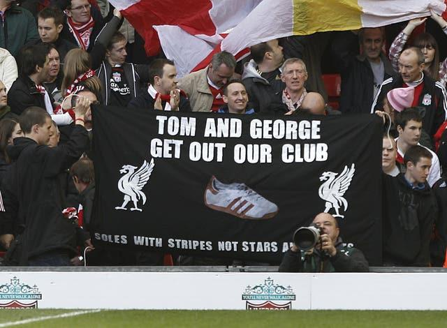 Protests were organised inside Anfield