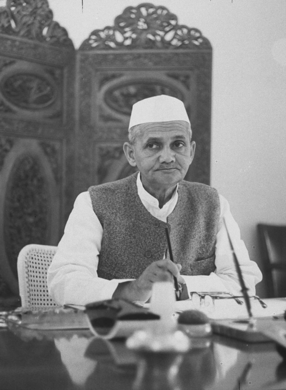 Prime Minister Lal Bahadur Shastri of India in his office in Parliament. (Photo by Stan Wayman/The LIFE Picture Collection via Getty Images)