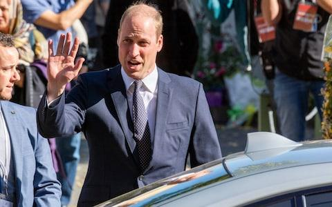 Britain's Prince William acknowledges the crowd after visiting the Al Noor mosque, one of the mosques in the mass shooting, in Christchurch, New Zealand - Credit: David Alexander/SNPA