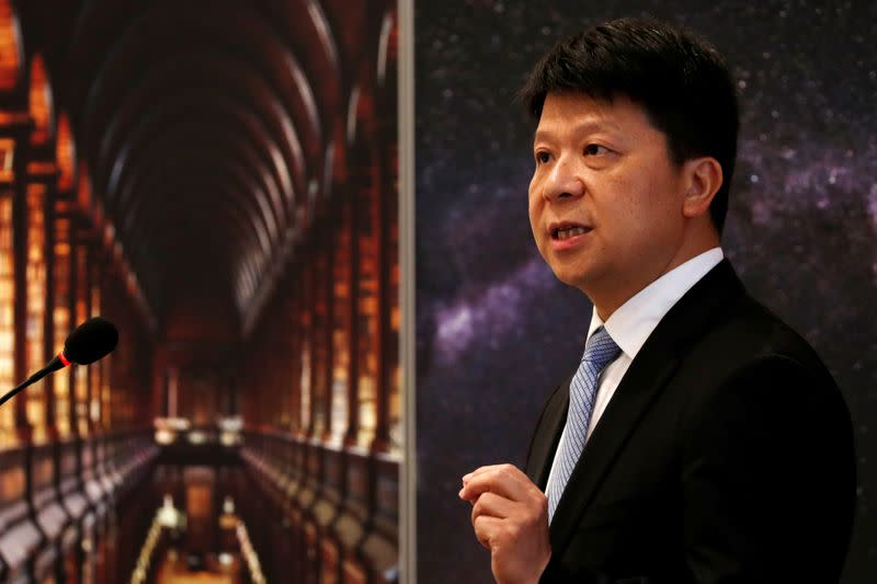FILE PHOTO: Huawei's Rotating Chairman Guo Ping speaks during a news conference in Shenzhen