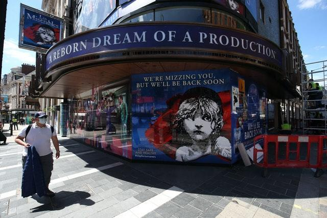The Sondheim Theatre in London's Shaftesbury Avenue, which was showing Les Miserables before its closure due to  coronavirus