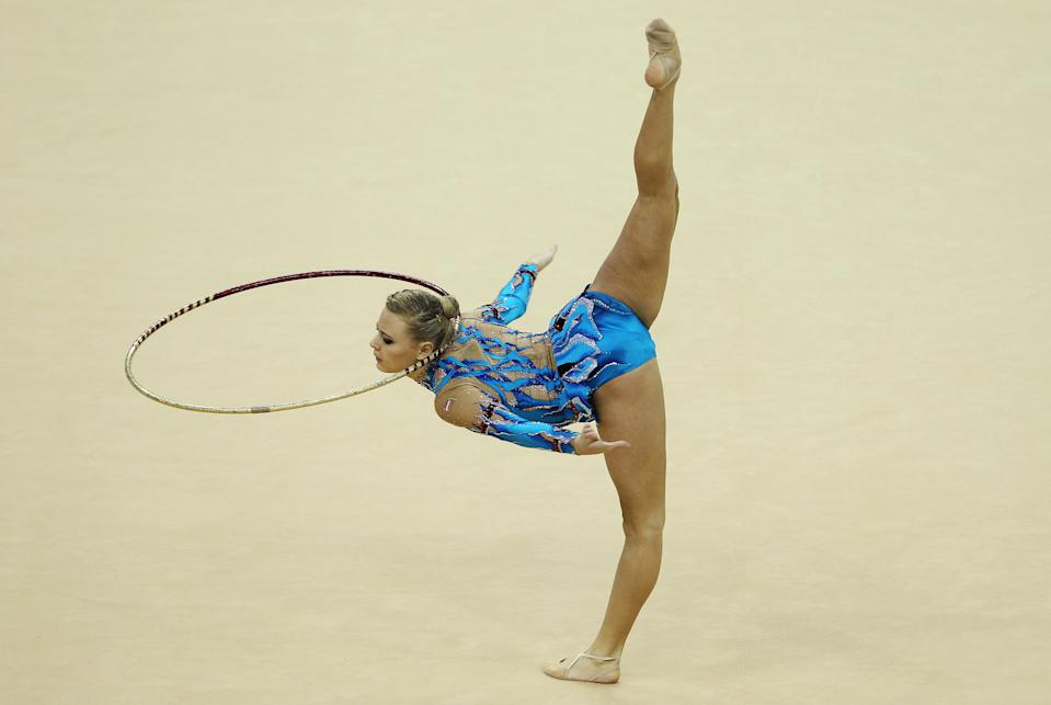 Nicol Ruprecht of Austria in action in the Individual All-Around during the FIG Rhythmic Gymnastics Olympic Qualification round in London.