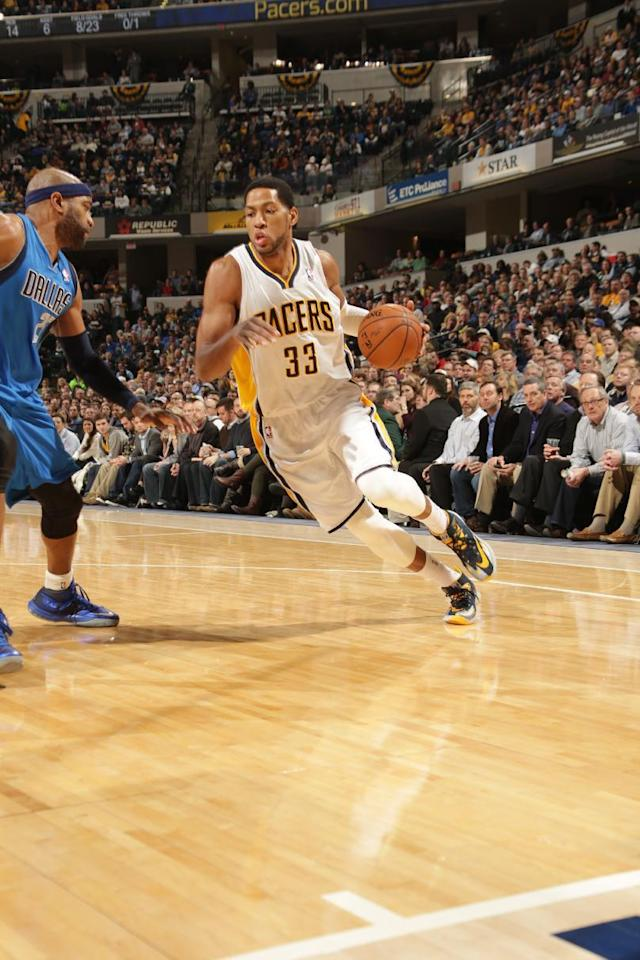 INDIANAPOLIS - FEBRUARY 12: Danny Granger #33 of the Indiana Pacers drives to the basket against the Dallas Mavericks at Bankers Life Fieldhouse on February 12, 2014 in Indianapolis, Indiana. (Photo by Ron Hoskins/NBAE via Getty Images)