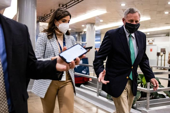 Senator Richard Burr (R-NC) walks through the Senate subway before the start of the fourth day in the Senates second impeachment trial of former President Donald Trump (Getty Images)