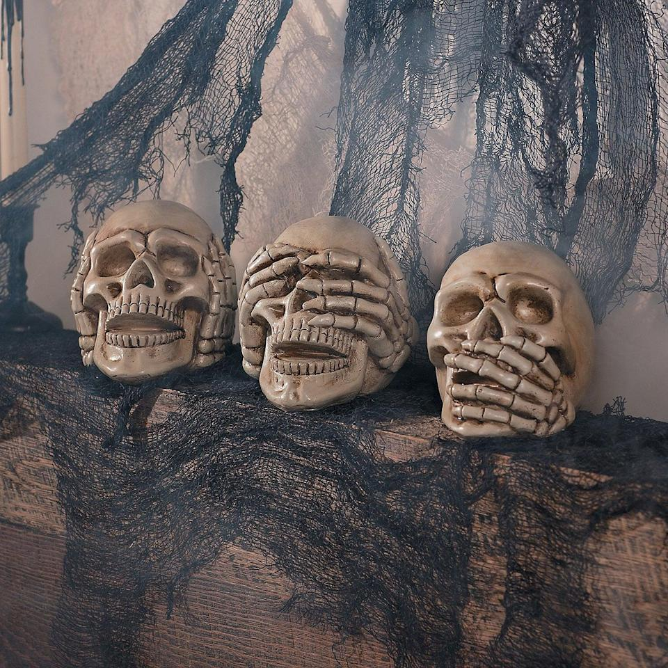 <p>Use the <span>Fun Express No Evil Skulls</span> ($19 for three) to decorate your mantel or coffee table. It's got a gothic vibe to it that will add that 0001 Cemetary Lane flair to your decor.</p>