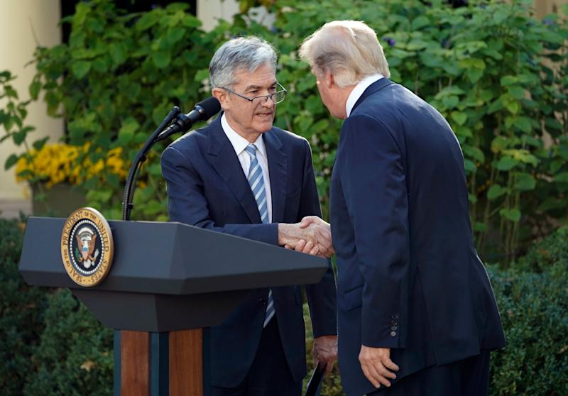 President Donald Trump shakes hands with Federal Reserve board member Jerome Powell after announcing him as his nominee for the next chair of the Federal Reserve, in the Rose Garden of the White House in Washington, Thursday, Nov. 2, 2017. (AP Photo/Pablo Martinez Monsivais)