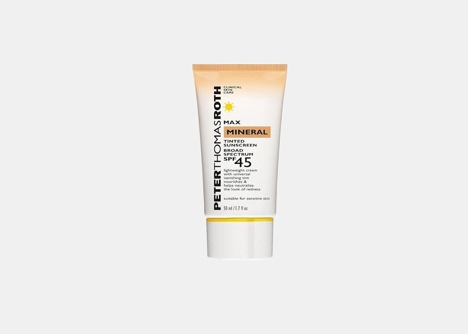 """This Peter Thomas Roth formula is both a mineral sunscreen and an anti-aging treatment, helping prevent long-term skin damage from the sun. Made with zinc oxide and titanium dioxide, it delivers broad spectrum SPF 45 UVA/UVB sun protection and is good for people with sensitive skin. (Mineral sunscreens are typically better for reactive skin, especially if you have rosacea or eczema; this one helps minimize redness and irritation.) The tinted sunscreen is also water resistant, ideal for days when you're hopping in and out of <a href=""""https://www.cntraveler.com/gallery/our-favorite-hotels-with-rooftop-pools?mbid=synd_yahoo_rss"""" rel=""""nofollow noopener"""" target=""""_blank"""" data-ylk=""""slk:the pool"""" class=""""link rapid-noclick-resp"""">the pool</a>. $34, Peter Thomas Roth. <a href=""""https://www.peterthomasroth.com/max-mineral-tinted-sunscreen-broad-spectrum-spf-45-1901020.html"""" rel=""""nofollow noopener"""" target=""""_blank"""" data-ylk=""""slk:Get it now!"""" class=""""link rapid-noclick-resp"""">Get it now!</a>"""