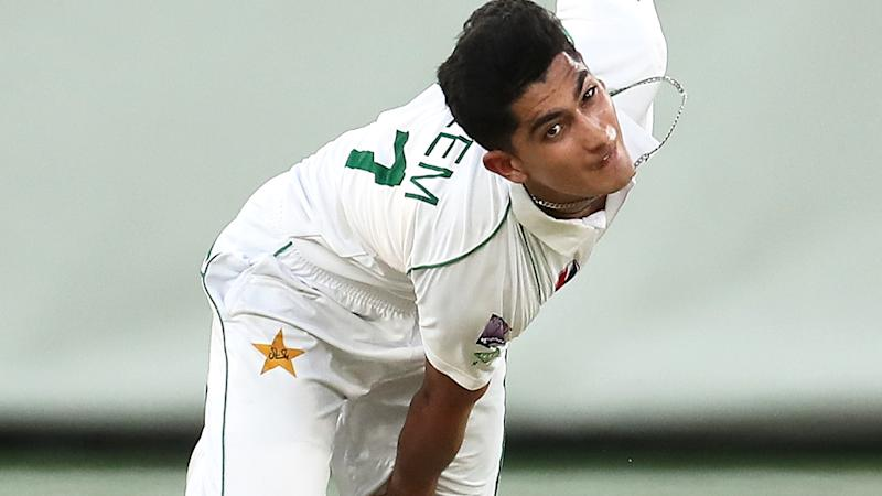Pakistan's Naseem Shah, pictured bowling against Australia A, played hours after the death of his mother.