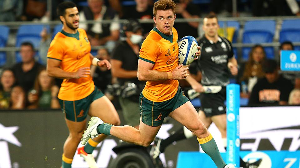 Andrew Kellaway dominated for the Wallabies in their final match of the Rugby Championship, 32-17 win over Argentina. (Photo by Jono Searle/Getty Images)