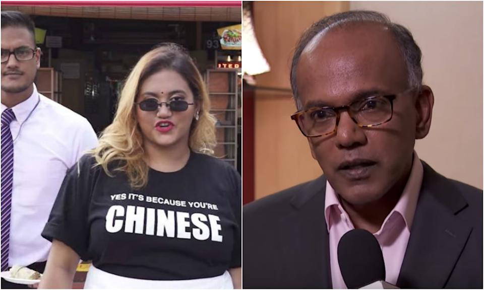 Social media personality Preeti Nair and her brother Subhas (left) and Law and Home Affairs Minister K Shanmugam. (SCREENSHOTS: Preetipls/Facebook, CNA/YouTube)