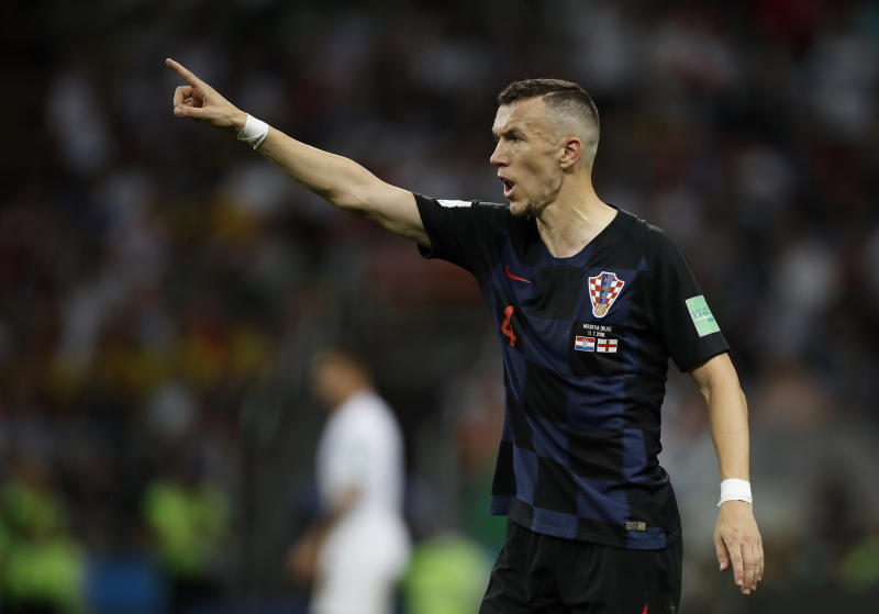 Croatia's Ivan Perisic gestures during the semifinal match between Croatia and England at the 2018 soccer World Cup in the Luzhniki Stadium in Moscow, Russia, Wednesday, July 11, 2018. (AP Photo/Francisco Seco)